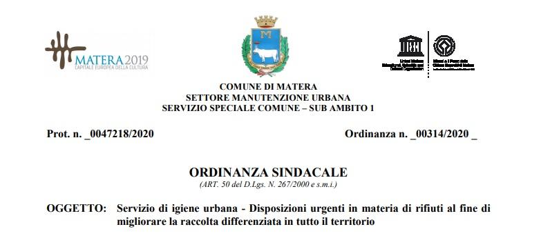 Comune di Matera: Ordinanza n 314-2020 – Disposizioni miglioramento raccolta differenziata