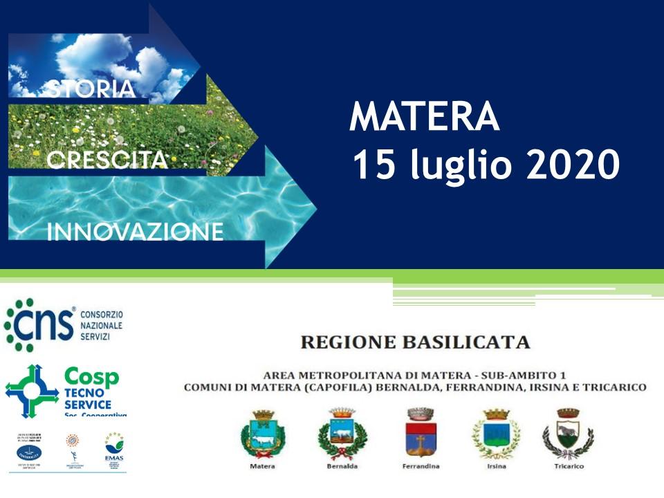 Matera: Zone e Calendari di avvio progressivo servizio di esposizione e ritiro dei rifiuti.