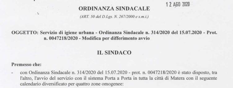 Ordinanza Sindacale – Modifica per differimento Avvio