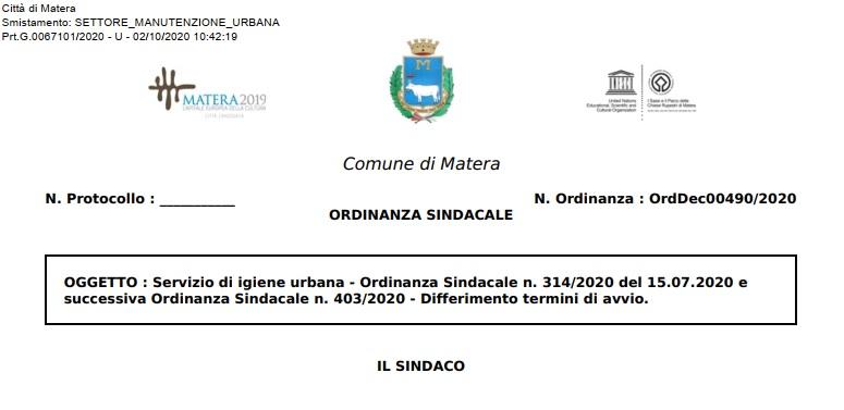 Matera: Servizio di igiene urbana – Ordinanza Sindacale n. 314/2020